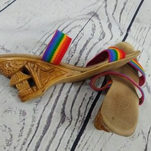 Hand carved wooden wedges 70s rainbow mules